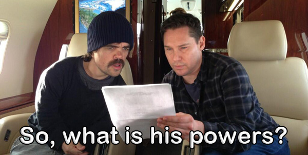 Peter Dinklage with Bryan Singer X-Men