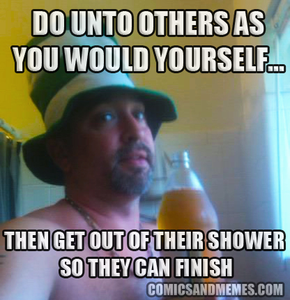 do unto others get out of shower clean up