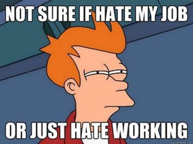 not sure fry meme hate job or working