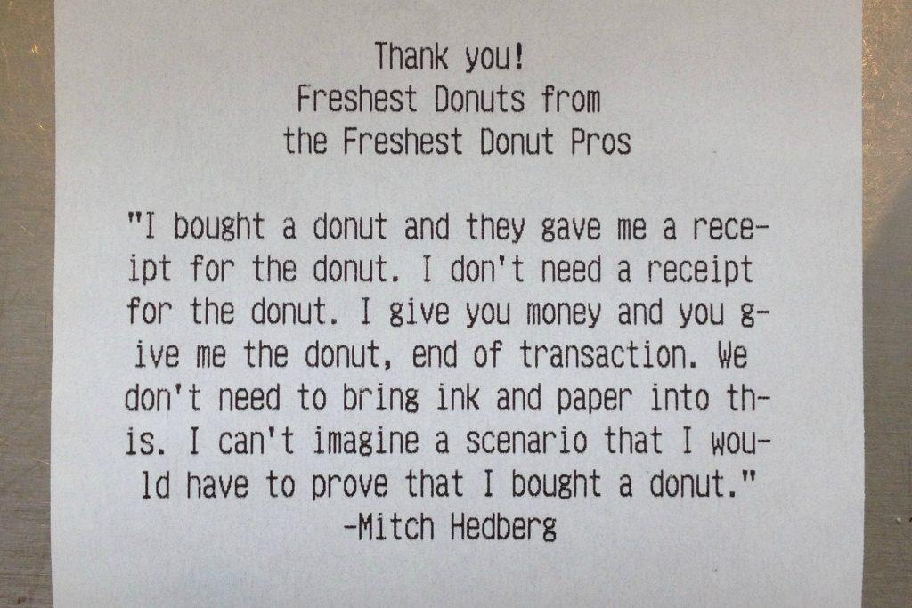 mitch hedberg donut reciept