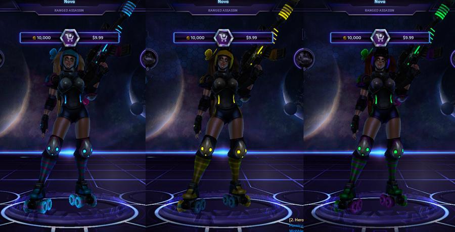 heroes storm Nova skins roller derby