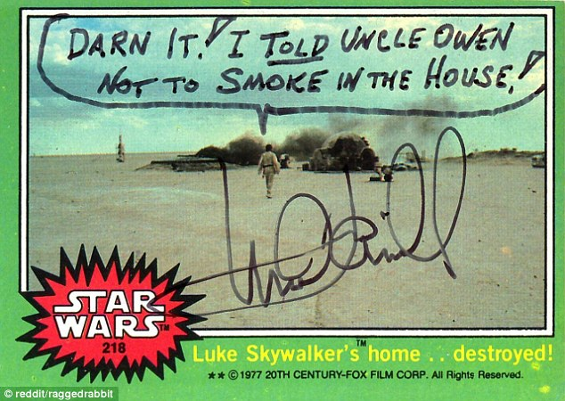 Mark Hamill Star Wars Trading Card Joke 005 Darn It Smoke In House