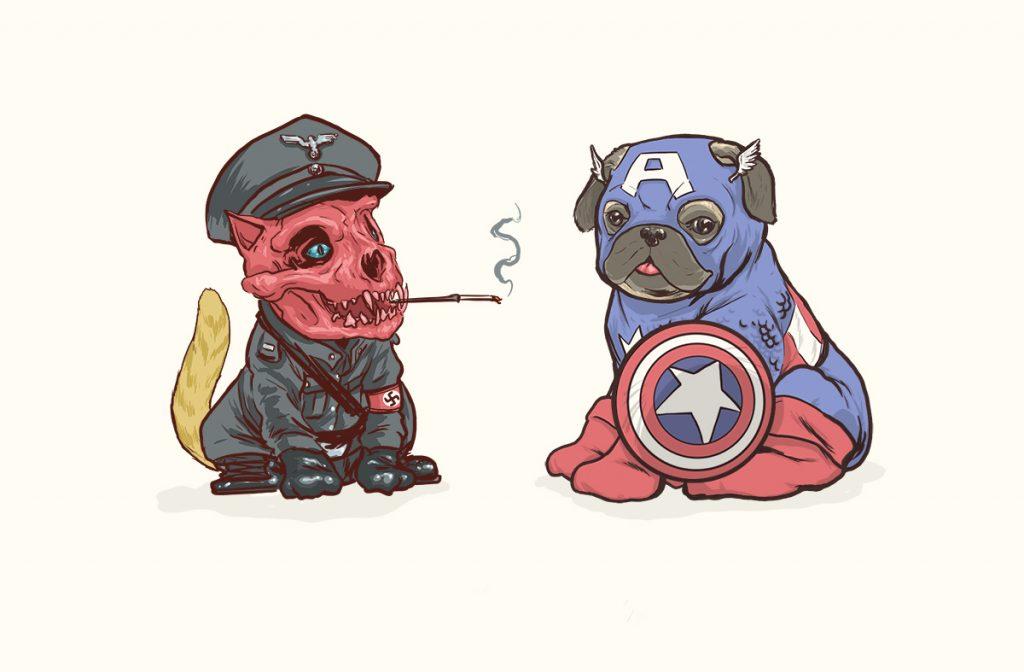 josh lynch marvel dogs 001 red skull and captain america