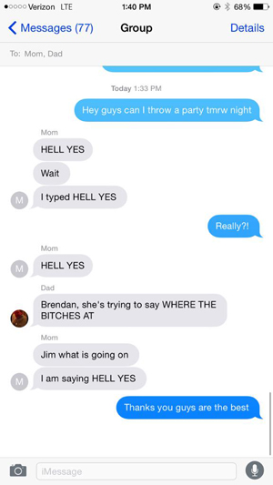 text message meme 017 autocorrect parents say yes to party